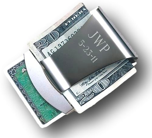 ForeverGifts.com - Personalized Smart Money Clip / Card Holder - Free Engraving, $14.95 (http://www.forevergifts.com/personalized-smart-money-clip-card-holder-free-engraving/?gclid=CIDG6-HnncoCFUiBfgodnc0ACQ/)