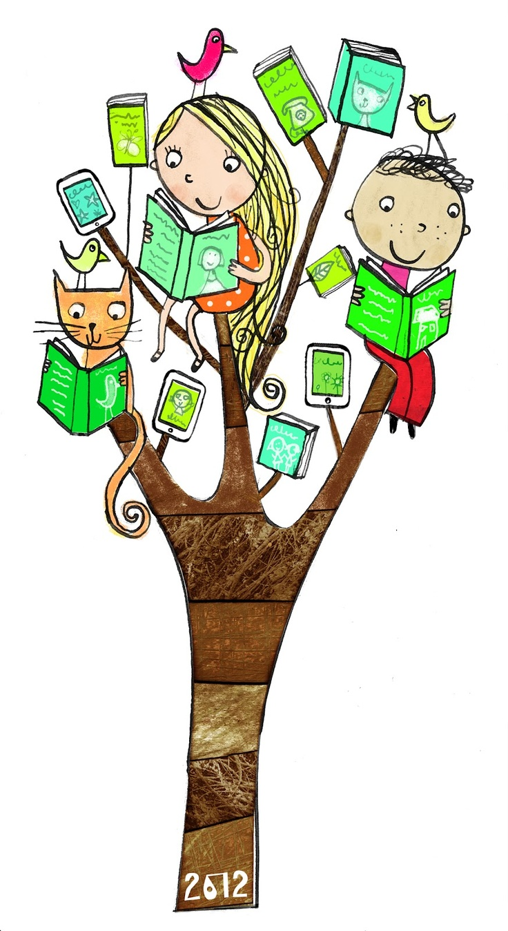 "LOVE this little ""book tree"" illustration by Leigh Hodgkinson!"