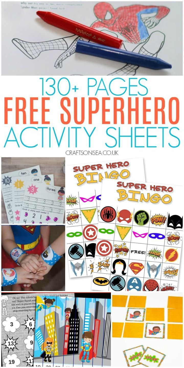 Free Superhero Activity Sheets   Activity sheets for kids [ 1435 x 720 Pixel ]