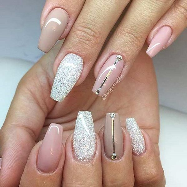 The Nude coffin Nails with Gold and Diamonds. This peachy pink nude and glitter is the perfect combo for any occasion.