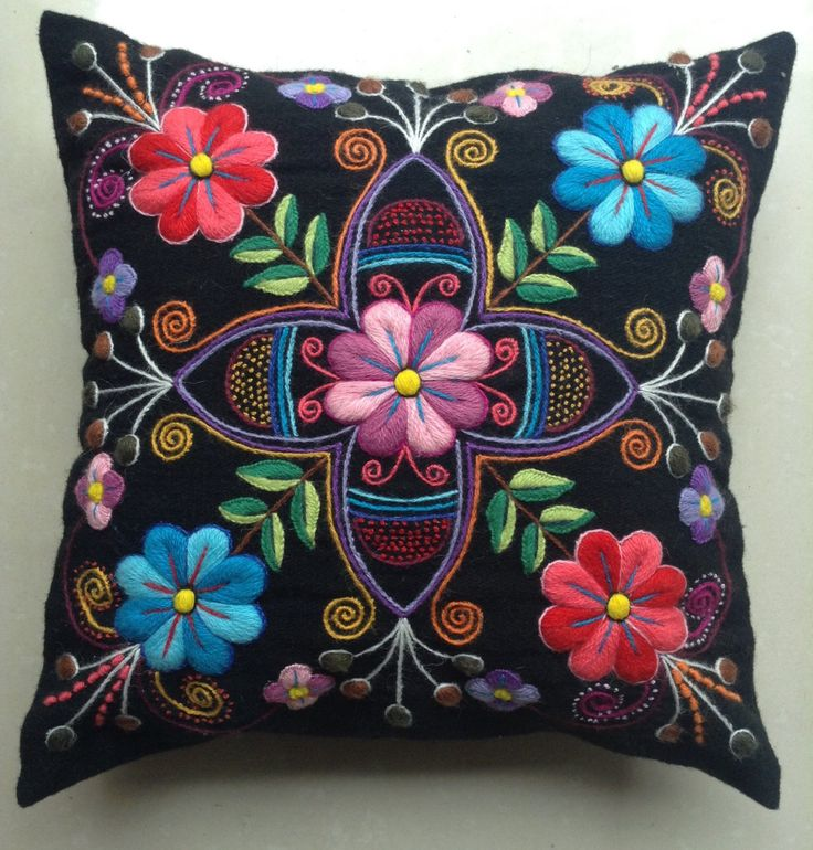 Peruvian Pillow cushion covers Hand embroidered flowers Sheep & alpaca wool 16 x 16 handmade Black Cushion Embroidery, Hand Work Embroidery, Silk Ribbon Embroidery, Crewel Embroidery, Hand Embroidery Designs, Baby Moccasin Pattern, Mexican Crafts, Mexican Embroidery, Wool Applique