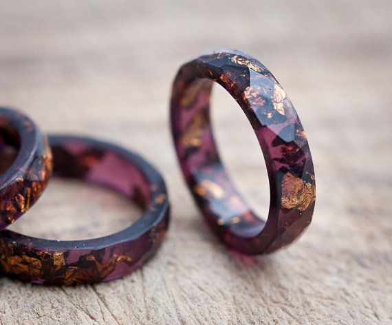Deep Purple Resin Ring Stacking Ring Copper Gold por daimblond