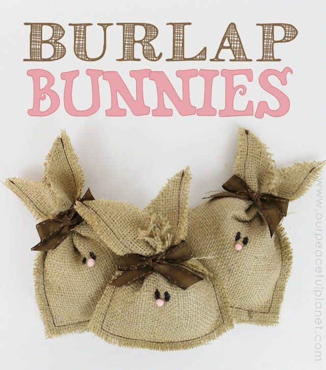 These little country bunnies are not only darling but super simple to make. All you need is a little burlap, stuffing and ribbon. We used a tiny pompom for the nose but felt would work just as well! These are great for Easter but would also be cute as part of a display anytime of the year!
