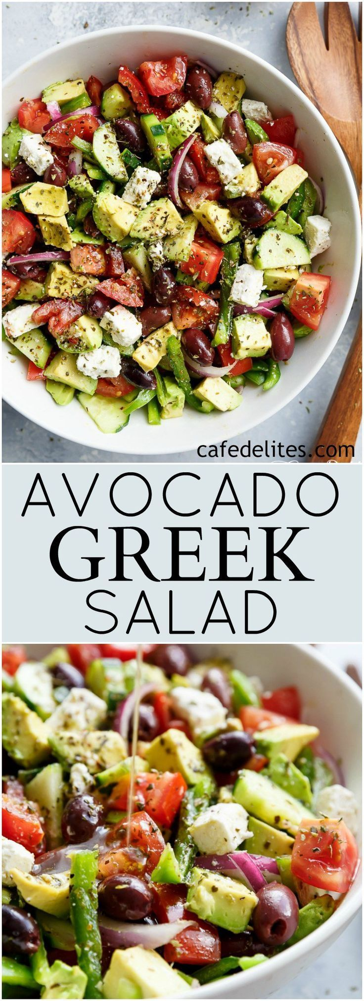 Avocado Greek Salad with a Greek Salad Dressing is a family favourite side salad Very good! Make sure avocado is ripe and chill before serving served with anything! | https://cafedelites.com