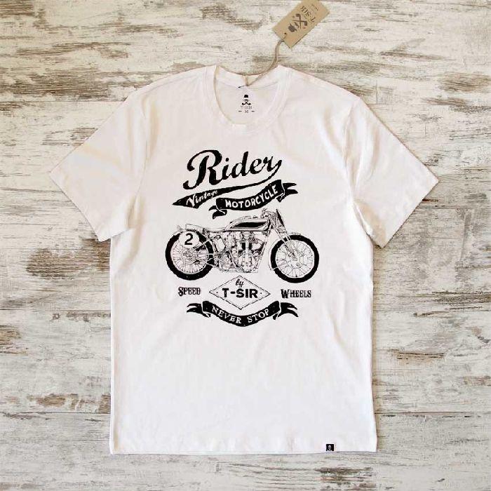 Diseño Rider Motorcycle original T-Sir, inspirado en la moto Norton CS1 Racer diseñada por Walter Moore en 1927. Vintage motorcycle, never stop, speed wheels.Selecciona atentamente tu talla con la imagen del esquema y las medidas de la información adicional.