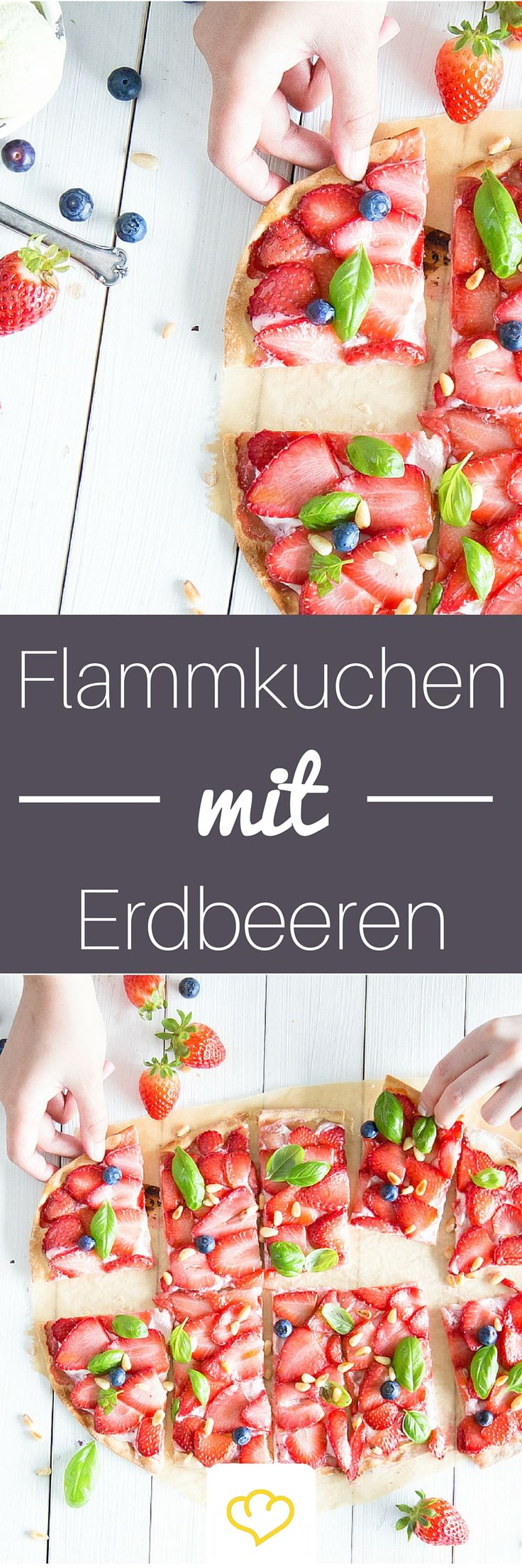 Für alle, die nicht genug von Erdbeeren bekommen können: hauchdünnenr, krosser Erdbeerflammkuchen serviert mit zart-cremigem Basilikumeis.
