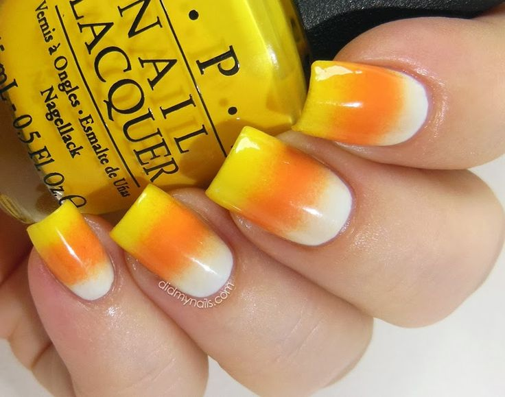 candy corn gradient nails for Halloween