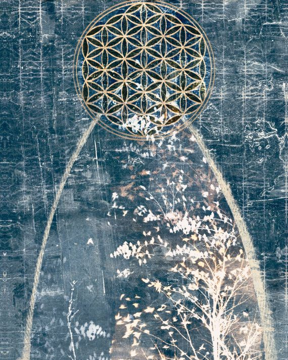 Sacred Geometry Archival Print Flower of Life symbol by 88editions