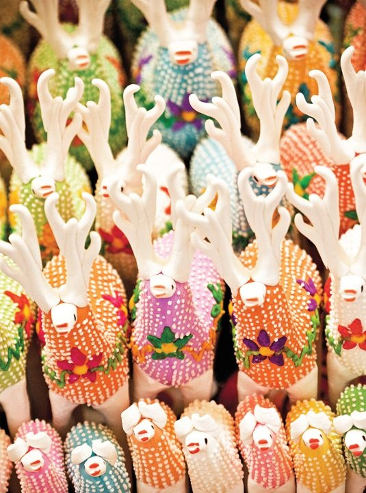 (Candy llamas) - Alfeñique is the art of creating figures from sugar. Today the figures are usually created for the Day of the Dead celebrations in November. The design and construction of these figures can vary from region to region. The alfeñiques came to Mexico from Spain.