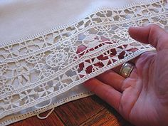 Em's Heart Antique Linens -Antique Italian Cream Linen Boudoir Sham