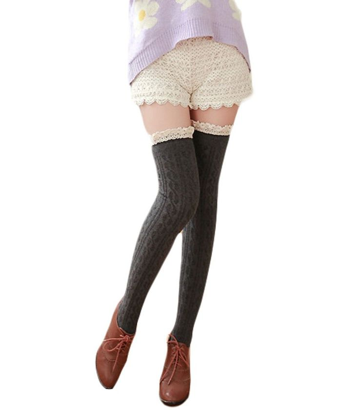 King Ma Women's Japanese Crochet Lace Trim Cotton Knit Knee High Stocking. Notice: Color of pictures may vary by different monitor setting. Material: Cotton. leg-warmers,sexy and lovely when wearing, Gift for female friends,lovers, wife, daughter, girlfriends. knit cotton socks with lace trim Thick, breathable fabric ,looks super cute and sexy with any outfit. Color: Black/White/Gray/Navy/Burgundy.