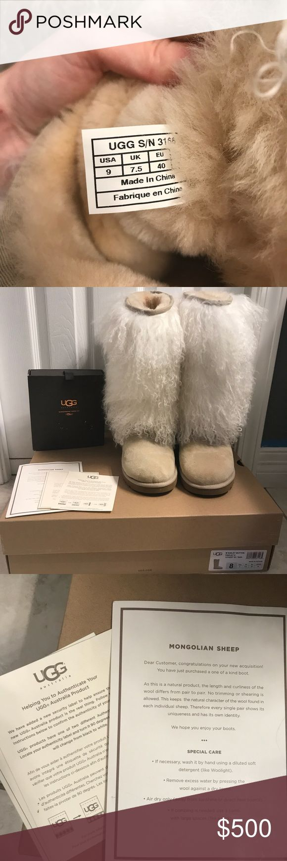 UGG Tall Mongolian Sheepskin White/Tan Boots Size9 These boots are in amazing condition!! They are so gorgeous! They've been worn a couple times since being purchased. I do not have the original box they came in but will send in a different UGG box. They are size 9 and fit a size 9 or 8 sized foot. I typically wear 8s but this still fit good. Also comes with care cards on how to care for the fur and a fur care kit. Asking $400 through 🅿️🅿️ but I'm open to offers ❤️ UGG Shoes Winter & Rain…