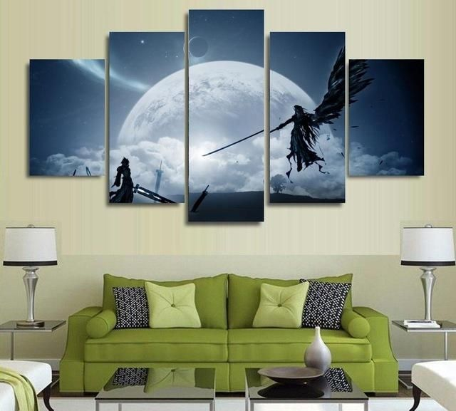 Framed Wall Art  PC Game Final Fantasy Poster Anime Canvas Painting Room Decor