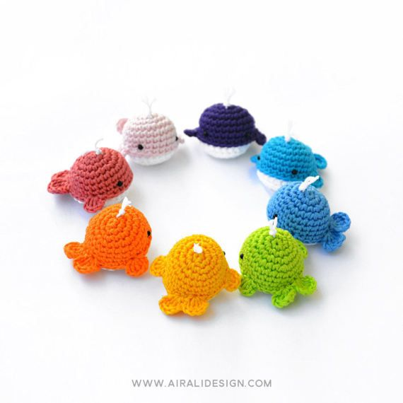 """Crochet amigurumi pattern for little and cute whales. * This is a PDF pattern, it is not a finished toy * This tiny little whale is waiting for you! Try to make the first one in your favourite colour and you won't resist to crochet a """"whale-bow"""". 3 PAGES PDF PATTERN - Available in English"""