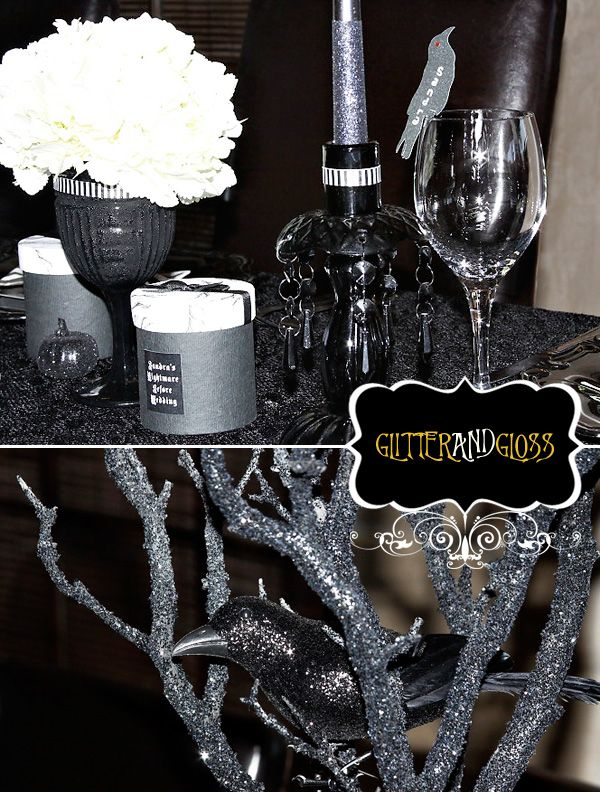 DIY ALERT: A little glue, glitter, spray paint, and faux crystals along with your standard table linens, candlestick holders, and flower vases turn an ordinary wedding reception into a glamorous offbeat Halloween event (whether a wedding or just a festive party)!