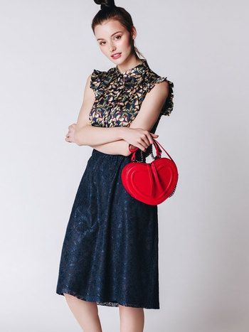 NAVY BLUE LACE SKIRT ROSALIA