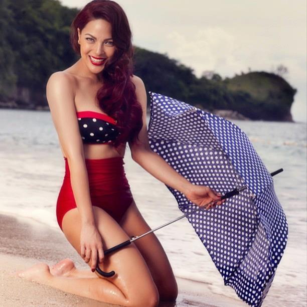 miss kc concepcion. love this retro beach look.