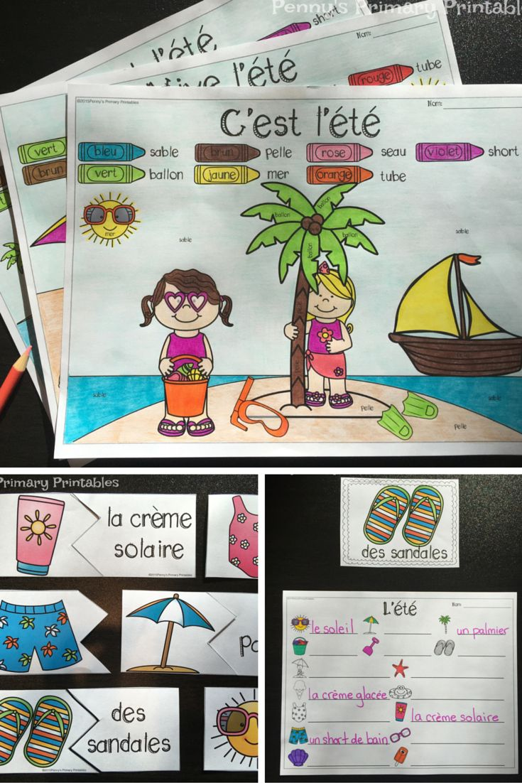 French Summer Write the Room! Perfect for Summer this set is filled with great French vocabulary activities including the write the room activity, word puzzles, colour by word pictures and more! Perfect for centres! Save money with the Write the Room bundle and get sets for the whole year and future sets for free! #summer #ete #french #francais