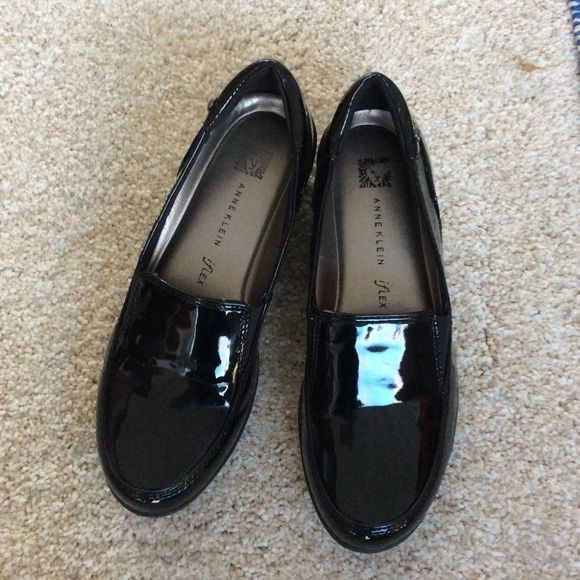 Black patent shoes, Anne Klein iflex, 6.5 M Brand new black patent slip ones, NWOT. Too small for me, tried on in store - great! Home, too small, 6.5M Anne Klein Shoes Mules & Clogs