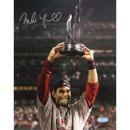 Mike Lowell Holding Up His '07 World Series MVP Trophy