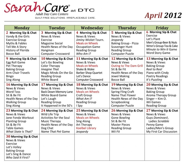 Calendar Ideas For Elderly : Images about other activity calendars on pinterest