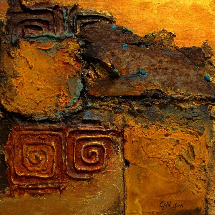 """""""Southern Relic""""  Found rusted metal, texture, rusted iron paint by Carol Nelson"""