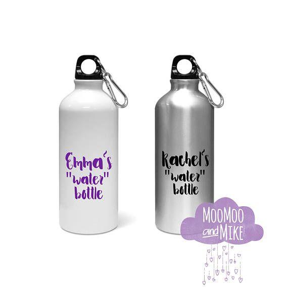 Personalised water bottle | screw top aluminium water bottle with chain | 600ml | Custom water bottle