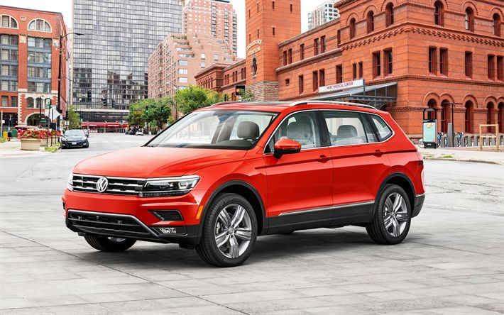 Descargar fondos de pantalla Volkswagen Tiguan, 2018 coches, 4k, crossovers, rojo Tiguan, los coches alemanes, Volkswagen