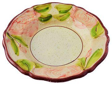 Scalloped Hand-Painted Rose Pasta Bowl - traditional - Bowls - Vita Casalinga