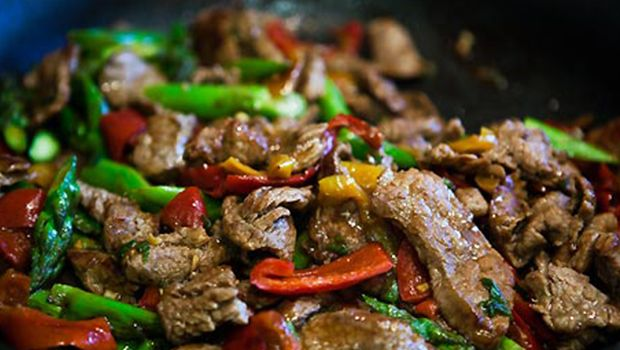 Beef Stir Fry and Qing Geng Cai