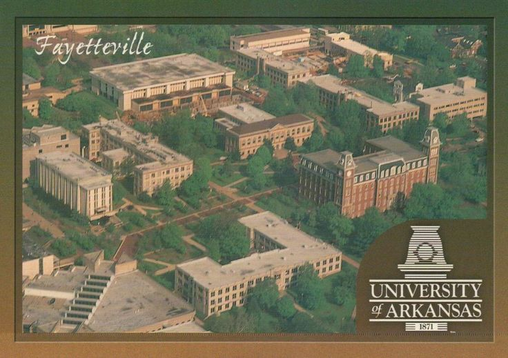 University of Arkansas, Fayetteville, Ozark Mountains, Campus Aerial -- Postcard