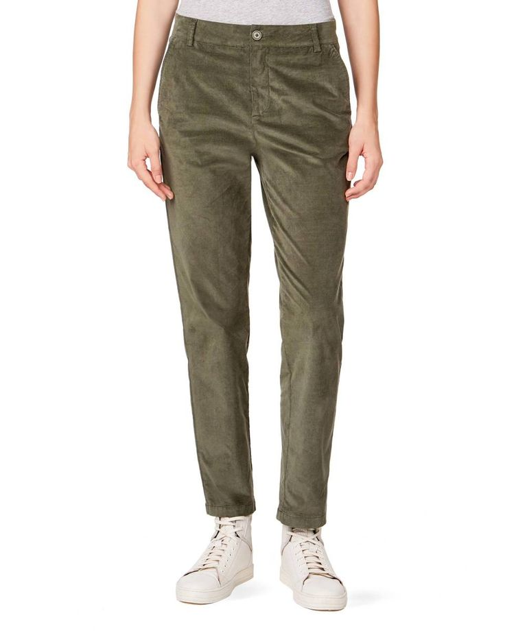 Velvet pants, Military Green - Check out the new collection and shop online at benetton.com. Free delivery on orders over €79.