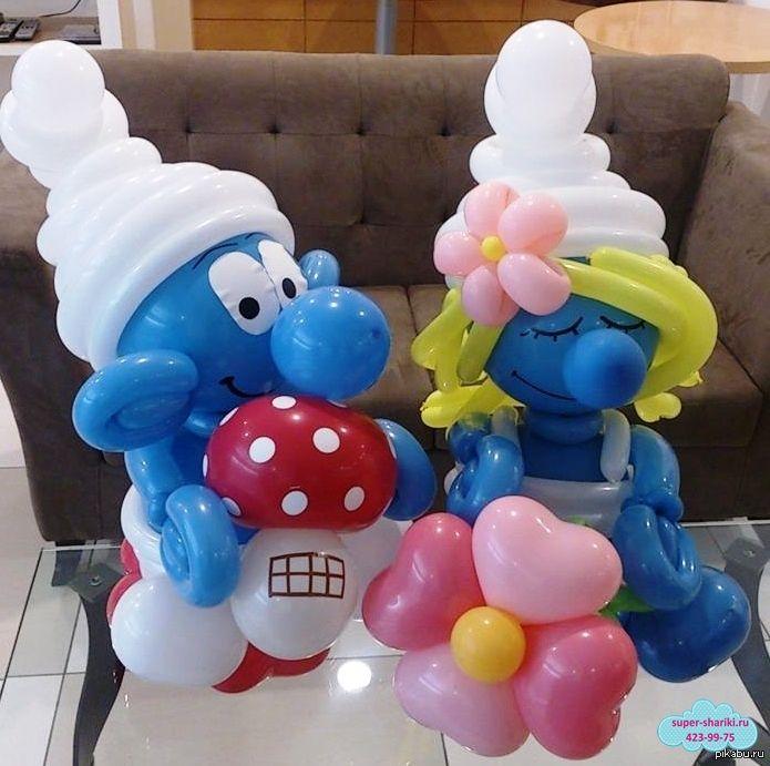 смурфики из шаров, смурфики из шариков, смурфики из воздушных шаров, фигуры из воздушных шаров