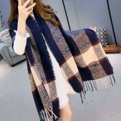 Stylish Ethnic Style Plaid Pattern Fringed Edge Pashmina For Women