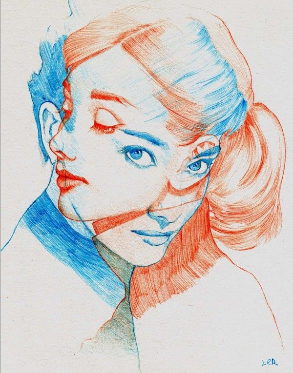 Ball Point Pen Art  Audrey Hepburn by ler huang, via Behance. Great use of transparency and figure/ground.