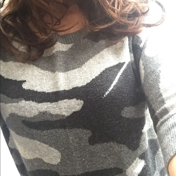 Cutest camo top!! Soft and perfect for this time of year!  Unique back! Express Sweaters