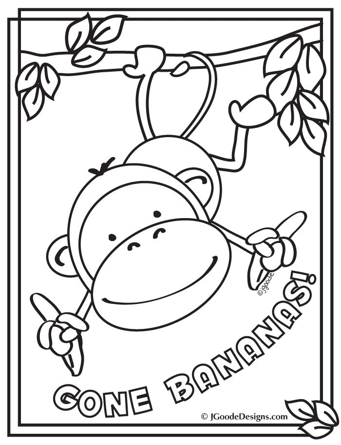 Monkey gone bananas coloring page designed by jen goode · printable activities for kidspreschool