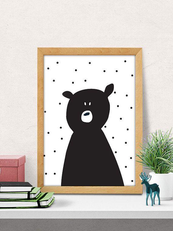 Bear print, nursery wall art, modern nursery decor, cute print, black bear  print, nursery wall decor, kids room decor, minimal, cute nursery