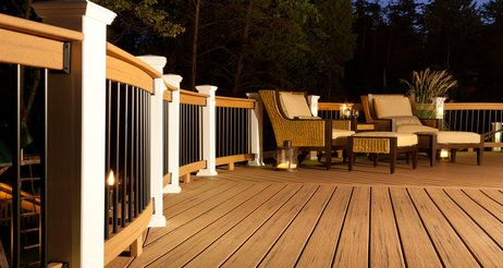 These deck boards and railing are built with composite materials, so they withstand the test of time without painting or staining. That means you'll enjoy the beautiful deck you install today, with minimal care and cleaning, for years to come.
