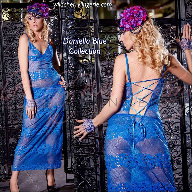 Daniella Blue Collection Long Chemise⭐️👙❤️ This luxurious piece is sure to make heads turn. This long babydoll features just enough sheerness to attract attention but not enough to give your whole story away. We love the lacing in the back, which reaches just low enough to properly titillate. The bright color is flattering to all skin tones and a delightful surprise. This features adjustable straps and a soft bra without underwire. Made of 85% nylon and 15% lycra.