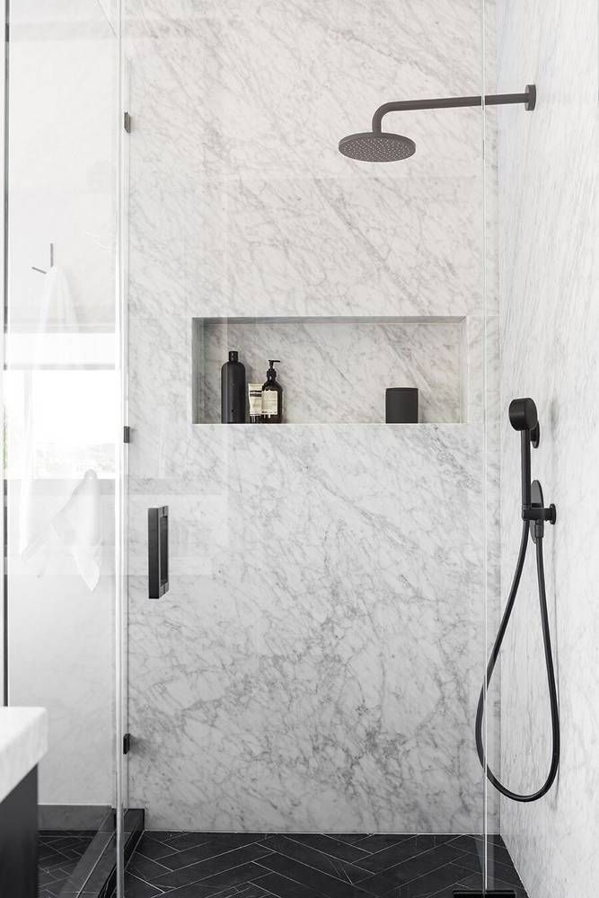 An Affordable Black and White and Modern Home Decor Renovation: Marble Shower