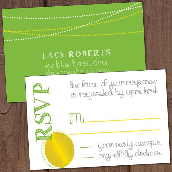 Lemon Lime Wedding Reply Card-Postcard by Aurora Graphic Studio's Invitation Line: Aurora Invited  https://www.etsy.com/listing/188179657/lemon-lime-wedding-reply-card-postcard?ref=listing-shop-header-0