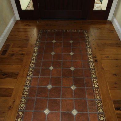 Tile Quot Rug Quot Inset In Wood Floor Do This In The Kitchen