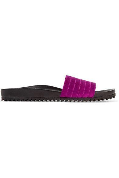 Pedro Garcia - Amparo Quilted Satin And Leather Slides - Magenta - IT38.5