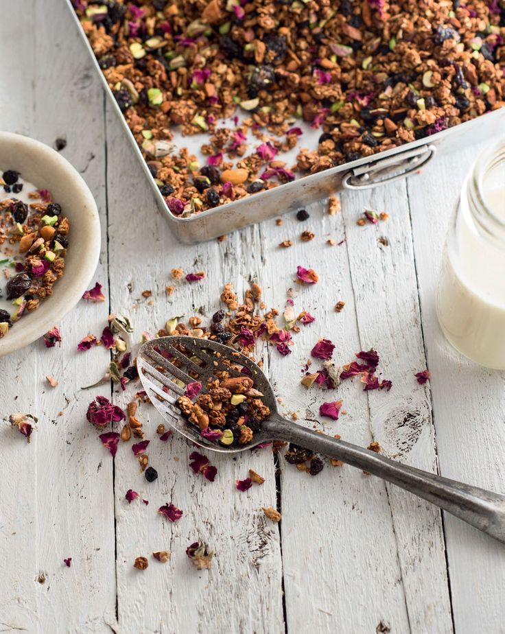 Middle Eastern granola with pomegranate, sour cherries & pistachios recipe from New Feast by Greg Malouf | Cooked