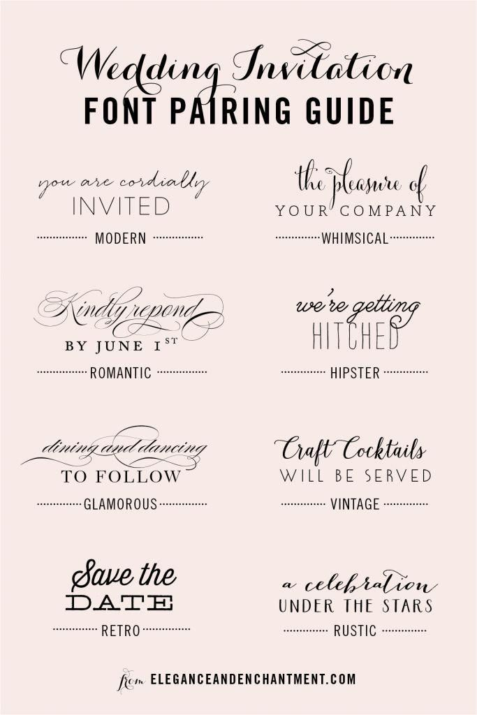wedding invitation font and pairing guide from elegance and enchantment great combinations of script and serifsans serif typography for any style - Fonts For Wedding Invitations