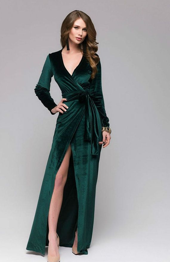 9a3489a2779 Beautiful Emerald Green Velvet Dress.Wrap Dress Formal.Sexy Dress Occasion.Maxi  Dress With Slit