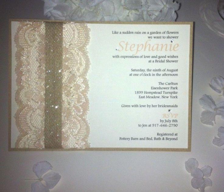 Lace Rustic Vintage Romance Burlap Kraft Nude-Peach Bridal Shower Invitation