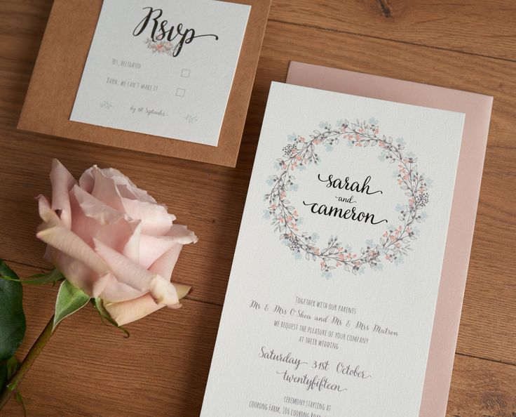 Pastel floral wedding invitations. Country feel.