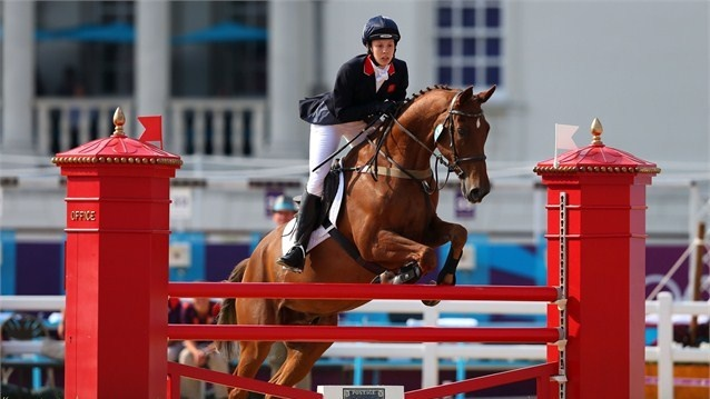 Samantha Murray of Great Britain riding Glen Gold competes during the Riding Show Jumping